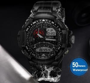 China Synoke Men Outdoor Multifunction Waterproof 50m Multifunction Pu Band Chronograph Alarm Wrist Watch 9601 wholesale