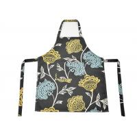 China Flower Pattern Cotton Kitchen Apron , Women Bib Home Kitchen Apron With Pockets wholesale