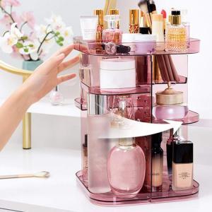 China Spinning holder storage rack 360 degree rotation square cosmetic makeup storage organizer for makeup brushes lipsticks wholesale
