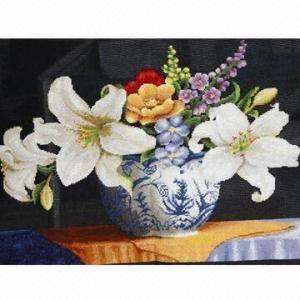 China Cross stitch patterns lily frame, colorful design wholesale