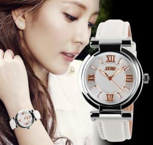 China NUEVO RELOJ SKMEI 9075 MUJER CUERO Watch Women Citizen Quartz Movement Fashion Ladies wholesale