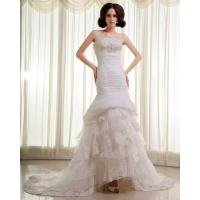 China Slim Beaded Sequin Strapless Wedding Gowns layered Lace Wedding Dresses wholesale