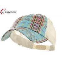 China Cotton Polyester Trucker Mesh Cap Blue Unstructured Low Profile Plaid wholesale