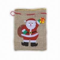 China Christmas Bag, Made of Natural Flax, Various Colors are Available wholesale