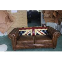 Durable Small 2 Seater Brown Leather SofaBed Vintage Union Jack Genuine Love Seat