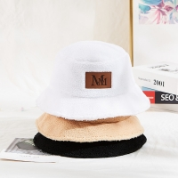 China ACE High Quality Soft Fabric Customization Leather Printing Logo Patch White Color Winter Bucket Cap Hat wholesale