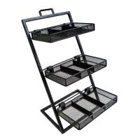 China Custom Convenience Store Wire Metal Display stand Rack Floor Standing with three shelving wholesale