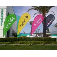 China Advertising Teardrop Flags Custom , Full Color Open Feather Flags Signs Spike Base wholesale