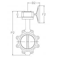 Lug Style Butterfly Valves-DIMENSIONS - Gear Operator-Drawing