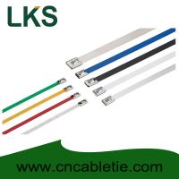 China 4.6*150mm 316/304/201 grade Ball-lock Epoxy-polyester coated stainless steel cable tie wholesale