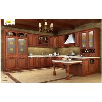 China Luxury Dark Laminated Wood Kitchen Cabinets With Titanium Crystal Glass Door wholesale