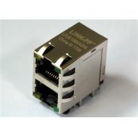 China 2x1 Port Stacked RJ 45 Modular Connector , LPJE106XAGNL 8P8C Shielded w/LED wholesale