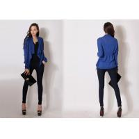China Casual Womens Cardigan Sweater Knitwear Blue Shawl Collar Fine Knit wholesale