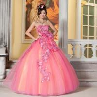 China Pink 3D Puffy Appliques wedding dress gorgeous sweep train layered wedding gowns wholesale