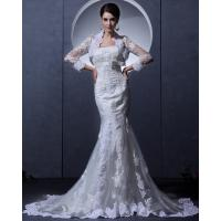 China Slim Vintage Lace Bra Appliques mermaid Wedding Dress with cape for Spring , Autumn wholesale