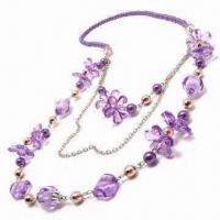 China Necklace, Decorated with Glass Beads and Imitation Pearls, ODM/Small Orders are Welcome wholesale