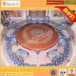 (BK0109-0015T)Luxury Mahogany Royal Palace 8-12 Elegant Blue Chairs Dining Room Furniture Antique Baroque Saudi Table Se