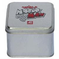 China Magno Man Mini Tin Cans With Sliver Body And Printed Cover , Square Tin Case wholesale