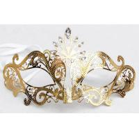 """China Venice Mask Metal Mask with Swarovski crystals   7""""PF069A-G wholesale"""