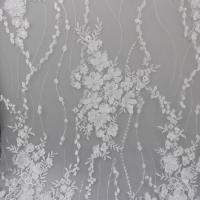 China Delicate Embroidery Polyester On Nylon Mesh Lace Fabric With 3D Flower Design wholesale