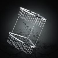 China Silver Finishing Bathroom Accessory Two Layers Corner Shower Basket wholesale