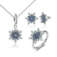 925 Sterling Silver Blue Clear Snowflake Cubic Zirconia Jewelry Set For Women