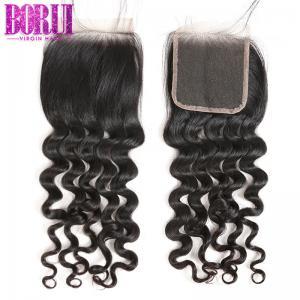 China HD Brazilian Human Hair Lace Closure Loose Wave Environmentally Friendly on sale