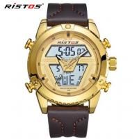 China Wholesale 2018 New RISTOS Men Dual time Display Genuine Leather Band Chronograph Fashion Sport Watches 9368 wholesale