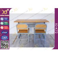 China Customized Size Double Student Desk And Chair Set For School Kids with Plywood + Steel Material wholesale