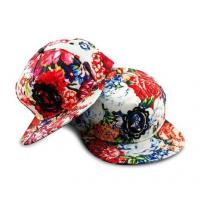 China 100% Cotton Peony Flower Custom Strapback Hats With Reinforced Sweatband wholesale