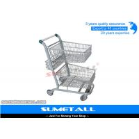 Quality Metal Double Basket Shopping Cart , 2 Basket Shopping Trolley For Supermarket for sale
