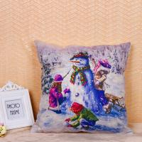 China Fancy Snowman Pillow Cushion Covers Recycled Cotton Linen Material 45 * 45 Cm wholesale