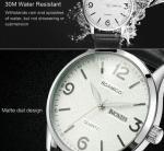 Boamigo Men New Leather Band Simple Calendar Waterproof 30m Luminous Casual