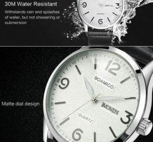 Quality Boamigo Men New Leather Band Simple Calendar Waterproof 30m Luminous Casual Quartz Wrist Watch 2111 for sale