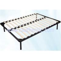 China Hot sale 1.5m * 1.8m black metal frame bed with Durable wood slat stable structure wholesale