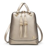 China Solid Pretty Style Women Genuine Leather Female Backpack , Diamond Lattice Ladies Leather Rucksack  wholesale