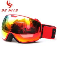 Quality Durable Comfortable Red Snowboard Goggles , Double Lens Ski Goggles With Anti for sale