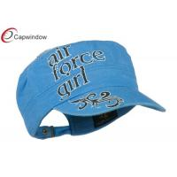 China Women's Flat Top US Military Baesball Hats Made of Cotton with Adjustable Buckle Strap Closure wholesale