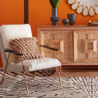 China Living Room Ingmar Lounge Chair , Modern Furniture Chairs With Champagne Gold Foot wholesale