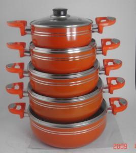 China Orange 5 Pcs Non Stick Sauce Pot Set , Ceramic Coating Steam Pot wholesale