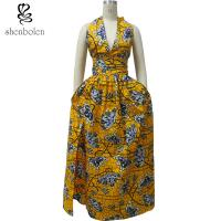 China Women's Stylish African Print Dresses Kitenge Fabric Deep V Neck Front Slit wholesale