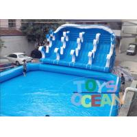 China Giant Blue Inflatable Play Park / Inflatable Theme Park With 4 Lanes Slide wholesale
