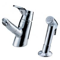 China Sink Mounted Brass Two Hole Bathroom Faucet , Unique Pull Out Shower Tap on sale