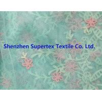 China Children'S Clothing Fabric Polyester Mesh Lt. Green Rubber Glitter Flowers Border Print wholesale