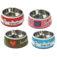 China Pet Washable Melamine & Stainless Steel Dog Cat Double Bowl Set Lightweight on sale