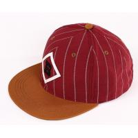 China Youth Red Strip Fabric Snapback Baseball Caps Embroidered For Summer / Autumn wholesale