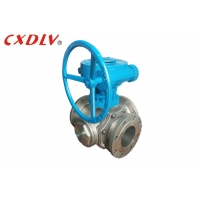 China Worm Gear Three Way Stainless Steel Flanged Ball Valve wholesale