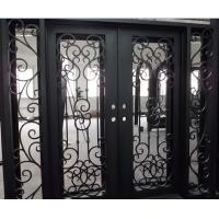 Flat Top Wrought Iron Double Door With Side lights