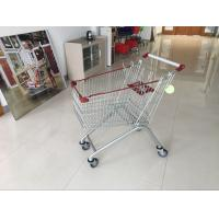 Quality 125L PPG powder Steel grocery shopping cart with 4 wheels , supermarket shopping trolley for sale
