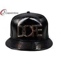 China Black Snake Skin Shiny Leather Hip Hop Baseball Caps With Gold Metal Logo wholesale